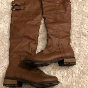 Qupid Brown Over the Knee Riding Boots - Size 9